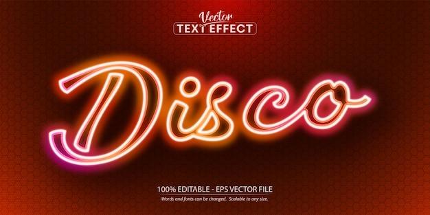 Disco-text, bearbeitbarer texteffekt im neon-stil