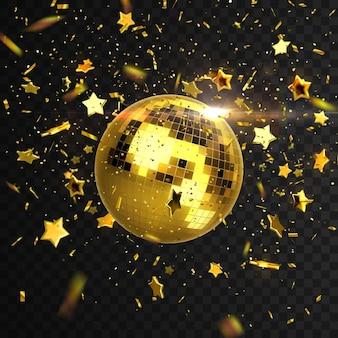 Discoball mit konfetti und sternen auf schwarz isoliert