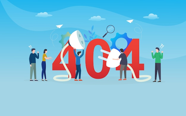 Disconection, fehler 404, website-schablone, überlagert, einfach zu redigieren und besonders anzufertigen, illustrationskonzept
