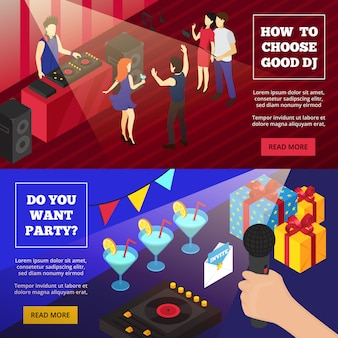 Discoteque party isometric banner