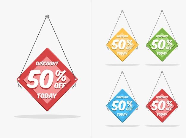 Discount label template set premium vektor mit verschiedenen farbstilen für ihre produktwerbung