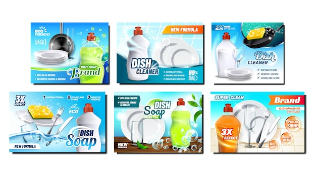 Dish soap detergent advertising poster set