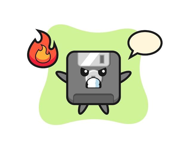 Disketten-charakterkarikatur mit wütender geste, niedlichem design für t-shirt, aufkleber, logo-element