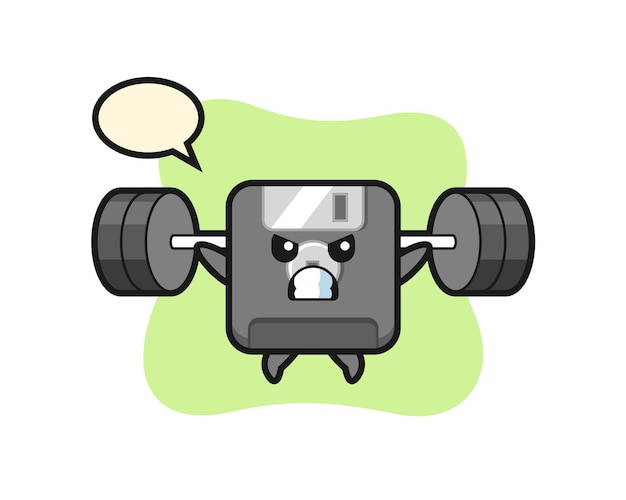 Disketten-maskottchen-cartoon mit einer langhantel, süßes design für t-shirt, aufkleber, logo-element