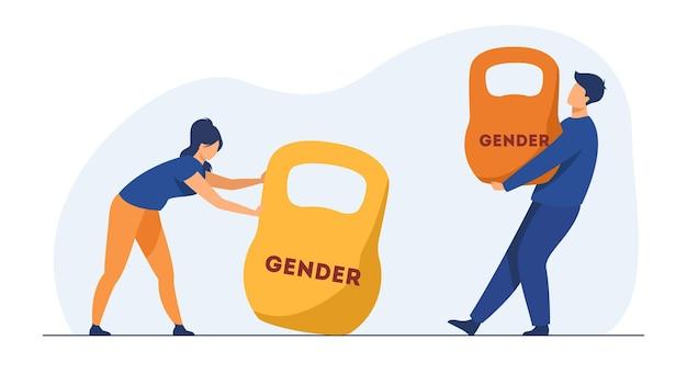 Diskriminierung aufgrund des geschlechts und ungleichheit. mann und frau heben kettlebells mit unterschiedlichem gewicht. karikaturillustration