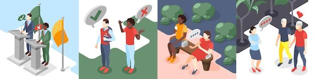 Diskriminierung isometrische 4x1 design-konzept illustration