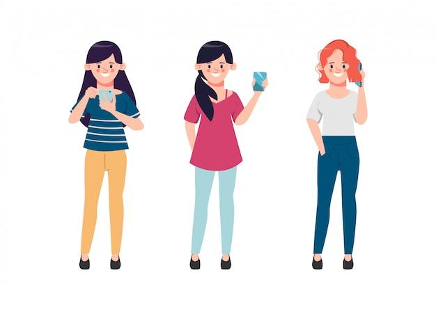 Diskussion über geschäftsfrauen in sozialen medien. karikaturillustration im flachen stil.