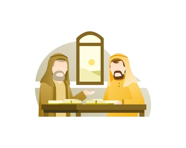 Diskussion über zwei muslimische männer über ein buch