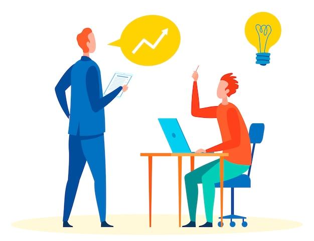 Diskussion von ideen an der arbeitsplatz-vektor-illustration