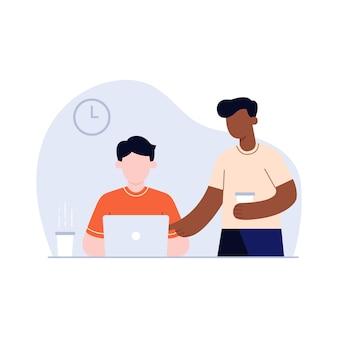 Diskussion zur überarbeitung des illustrationsprojekts mit teamarbeit