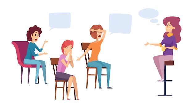 Diskussionsclub für frauen. frauengruppentherapie, psychische probleme und therapeutin. coaching oder mentoring für mädchen-vektor-illustration. gruppendiskussionstherapie, psychologiegespräch