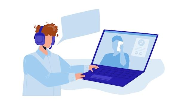 Disponent, der mit dem kunden am computer-vektor spricht. disponent gibt anweisungen und spricht mit dem kunden per videoanruf. charaktere digitaler technischer support flache cartoon-illustration