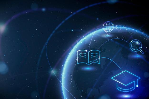 Disruptive bildung globus hintergrund vektor geographie digital remix