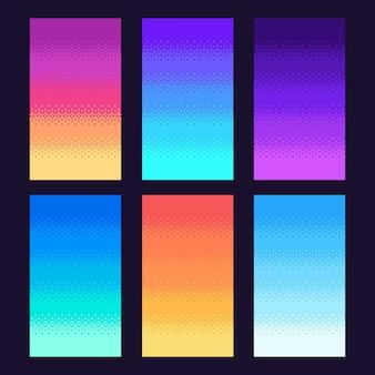 Dithering pixel hintergrund. alter retro-videospiel-pixelkunstgradient, retro-arcade-spiele 8-bit-himmel-illustrationssatz