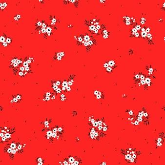 Ditsy vektor blumenmuster nahtloser druck kleine weiße blumen roter hintergrund