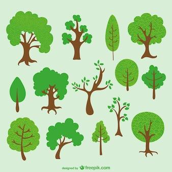 Diverse bäume cartoon-pack