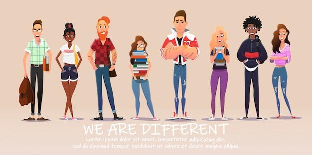 Diverse college- oder universitätsstudenten mit büchern.