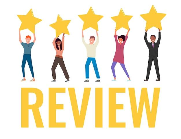 Diverse gemischtrassige menschen, die eine sternebewertung zur überprüfung haben. positives feedback von kunden oder kunden, exzellenz-fünf-sterne-ranking, gute qualitätsbewertung und service-vektorillustration des zufriedenheitsniveaus