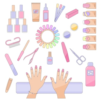 Diverse maniküre-zubehör mit handgeräte werkzeuge nagelfeile nagelschere pinzette