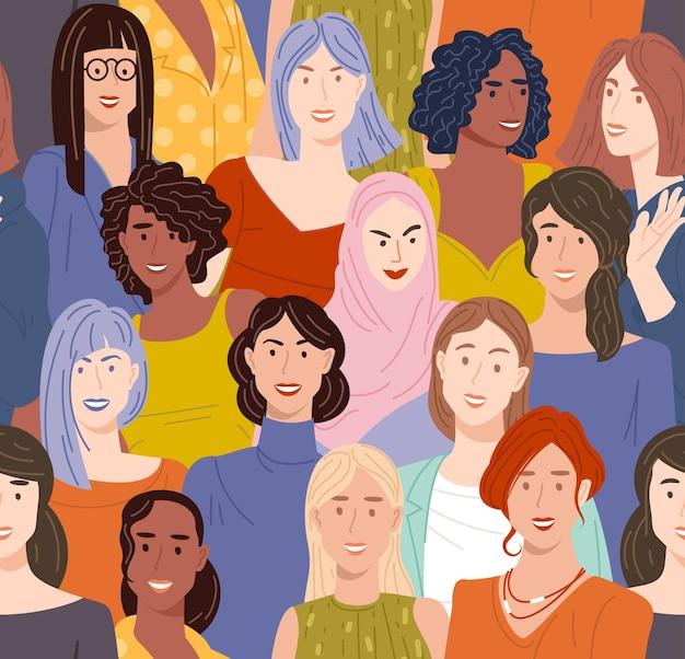 Diverse weibliche charaktere. nahtloses vektormuster des flachen designs.