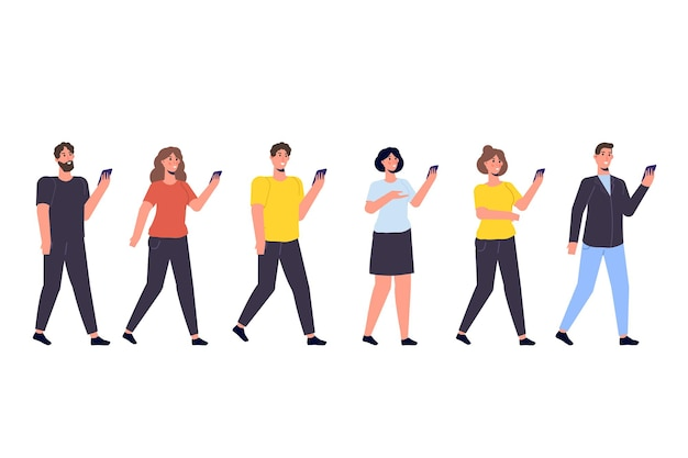 Diverses fokusgruppenkonzept mit smartphone in händen