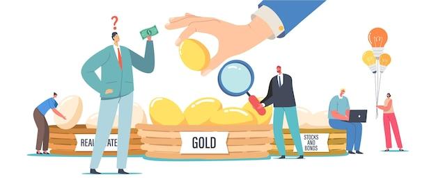 Diversifikationsinvestition, finanzieller erfolg und gleichgewicht, risikomanagement, garantie der sicherheit finanzieller einsparungen. menschen investieren in gold, immobilien, anleihen und aktien. cartoon-vektor-illustration