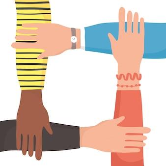 Diversity hände menschliches team flache stilikonenillustration