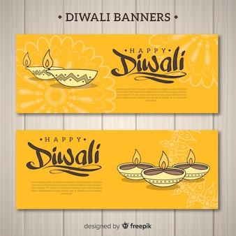 Diwali banner mit kerzen gesetzt