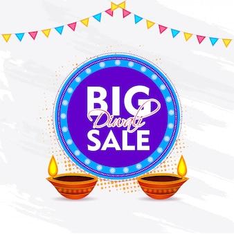 Diwali big sale banner template design mit beleuchteter öllampe (diya)