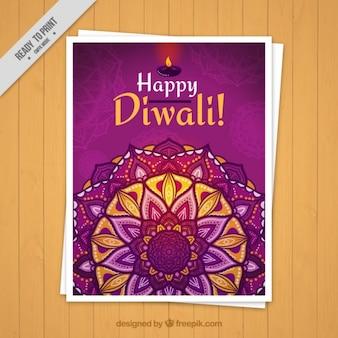 Diwali broschüre mit handgemalten mandala