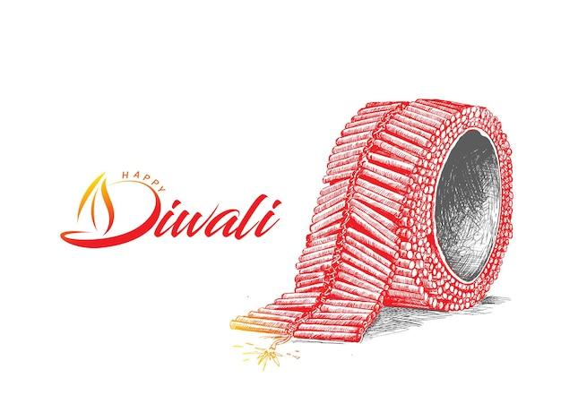 Diwali cracker, hand gezeichnete skizze vektor-illustration.
