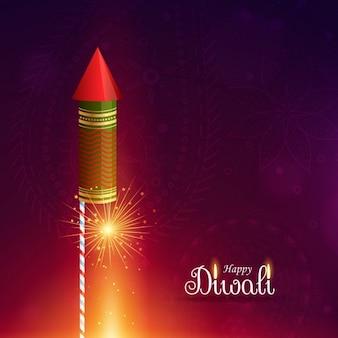 Diwali cracker rakete mit schein
