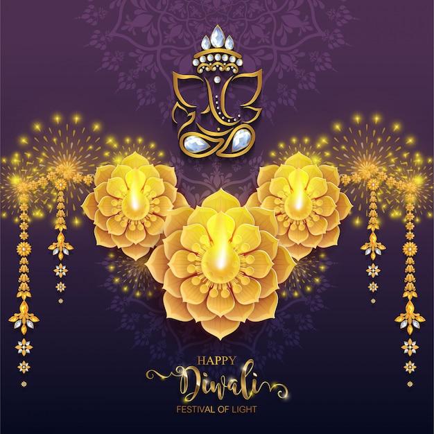 Diwali, deepavali oder dipavali, das festival der lichter indiens mit gemustertem golddiya und kristallen auf papier