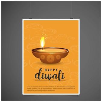Diwali-Design gelber Hintergrund und Typografievektor