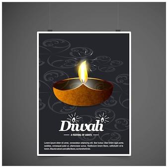 Diwali-design mit dunklem hintergrund und typografievektor