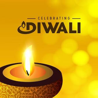 Diwali-Design mit gelbem Hintergrund- und Typografievektor
