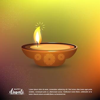 Diwali-design mit grünem hintergrund und typografievektor