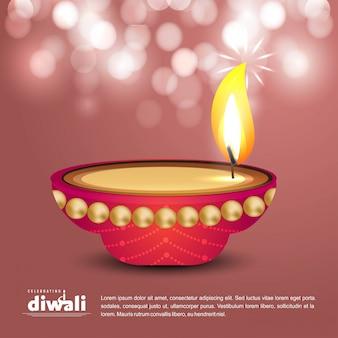 Diwali-design mit hellem hintergrund und typografievektor