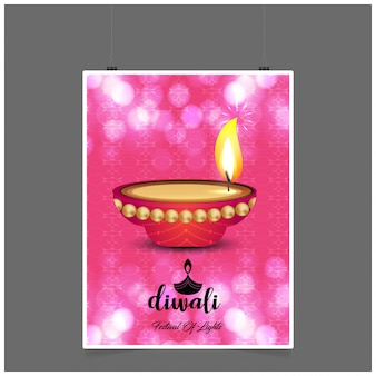 Diwali-design mit rosa hintergrund und typografievektor