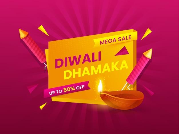 Diwali dhamaka mega sale poster design mit beleuchteter öllampe