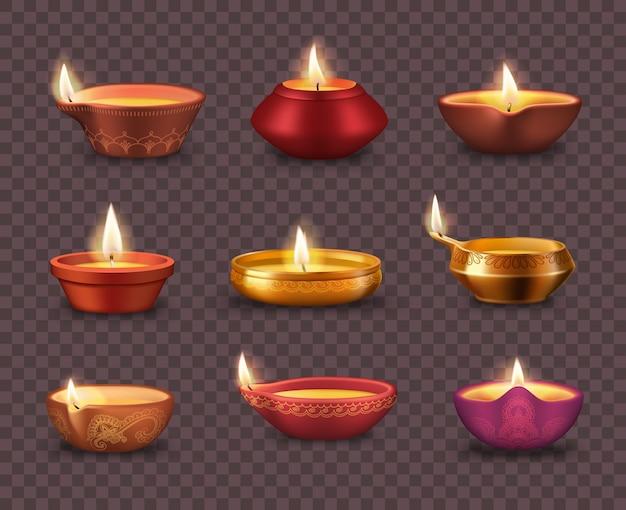 Diwali diya lampen auf transparentem hintergrund realistischen satz von deepavali oder divali licht festival. indische hinduistische religion öllampen oder laternen mit brennenden dochten und rangoli-dekoration