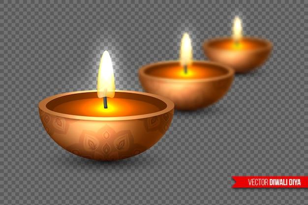 Diwali diya - öllampe. elemente für das traditionelle indische lichterfest. realistischer 3d-stil mit unschärfeeffekt auf transparentem hintergrund. vektor-illustration.