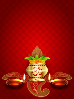 Diwali diya und kalash design