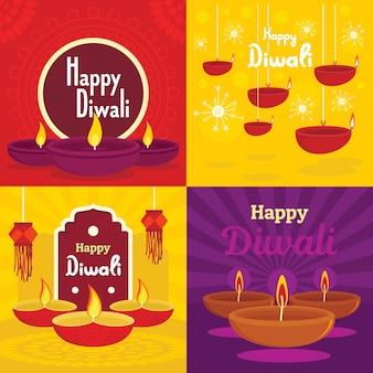 Diwali-fahnensatz. flache darstellung von diwali