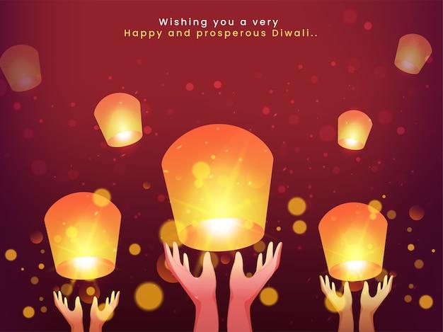 Diwali feier hintergrund mit menschlichen händen, die himmelslaternen freigeben