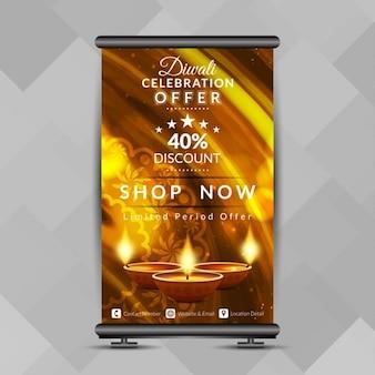 Diwali-fest bieten helle roll-up-banner-design