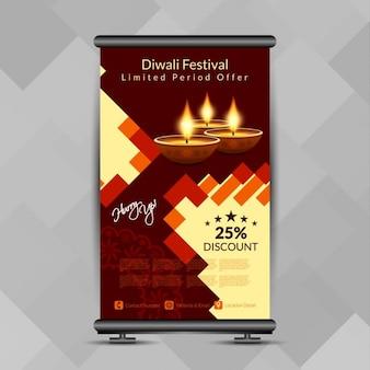 Diwali-fest bunt roll-up banner stand-design