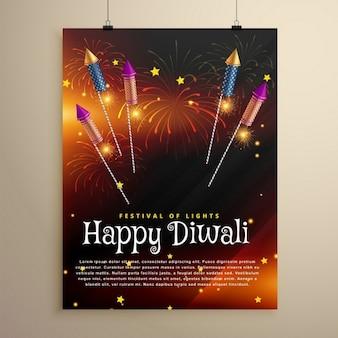 Diwali-fest flyer vorlage mit fliegenden rakete cracker und feuerwerk