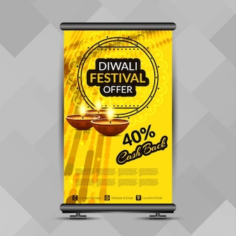 Diwali-fest rollen oben fahne standdesign
