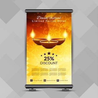 Diwali-fest schön roll-up banner stand-design